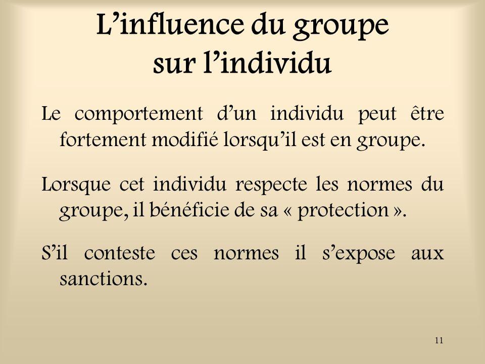 L'influence du groupe sur l'individu