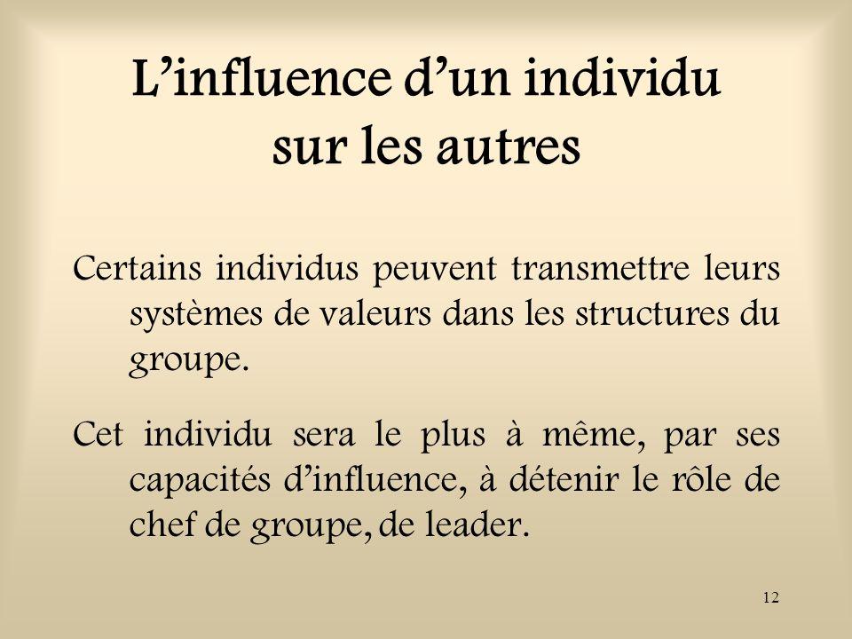 L'influence d'un individu sur les autres