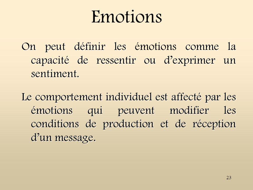 Emotions On peut définir les émotions comme la capacité de ressentir ou d'exprimer un sentiment.