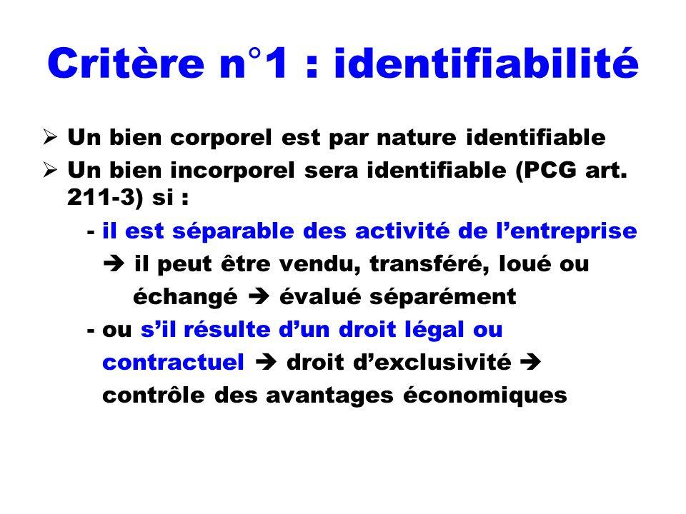 Critère n°1 : identifiabilité
