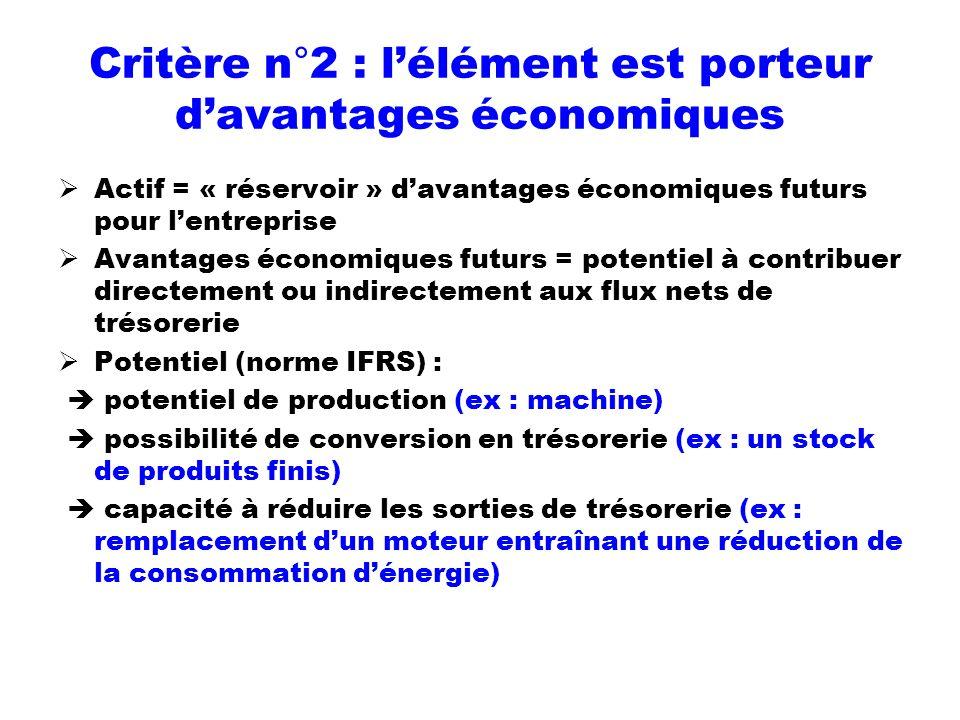 Critère n°2 : l'élément est porteur d'avantages économiques