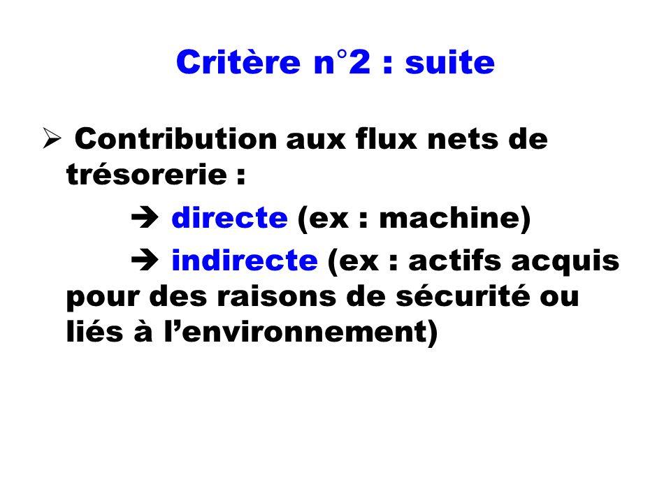 Critère n°2 : suite Contribution aux flux nets de trésorerie :
