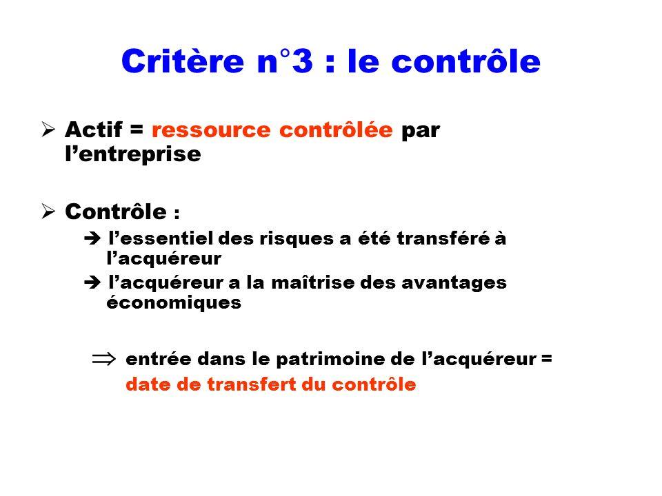 Critère n°3 : le contrôle