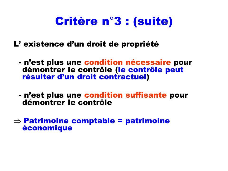Critère n°3 : (suite) L' existence d'un droit de propriété