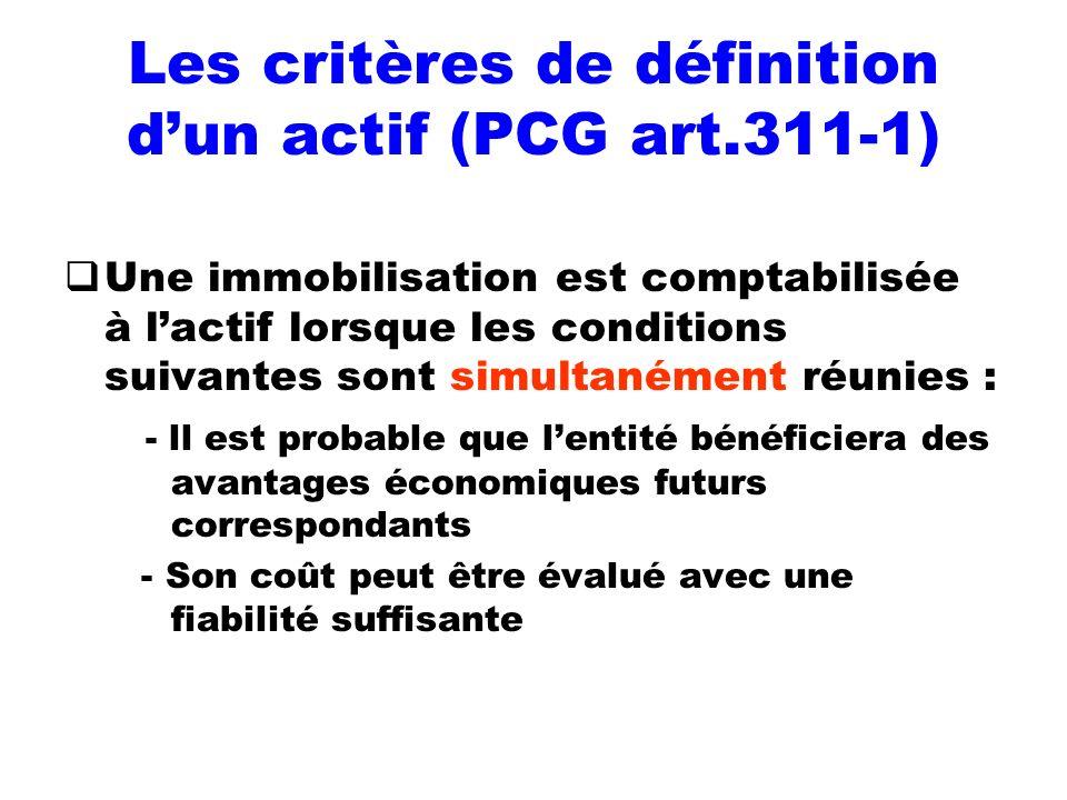 Les critères de définition d'un actif (PCG art.311-1)
