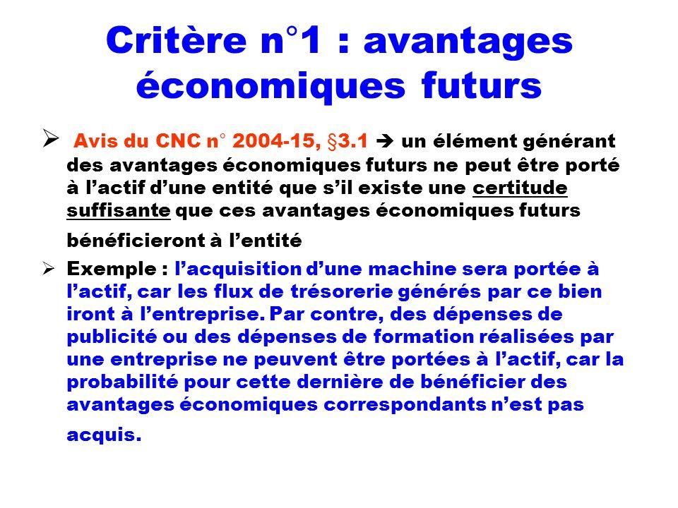 Critère n°1 : avantages économiques futurs