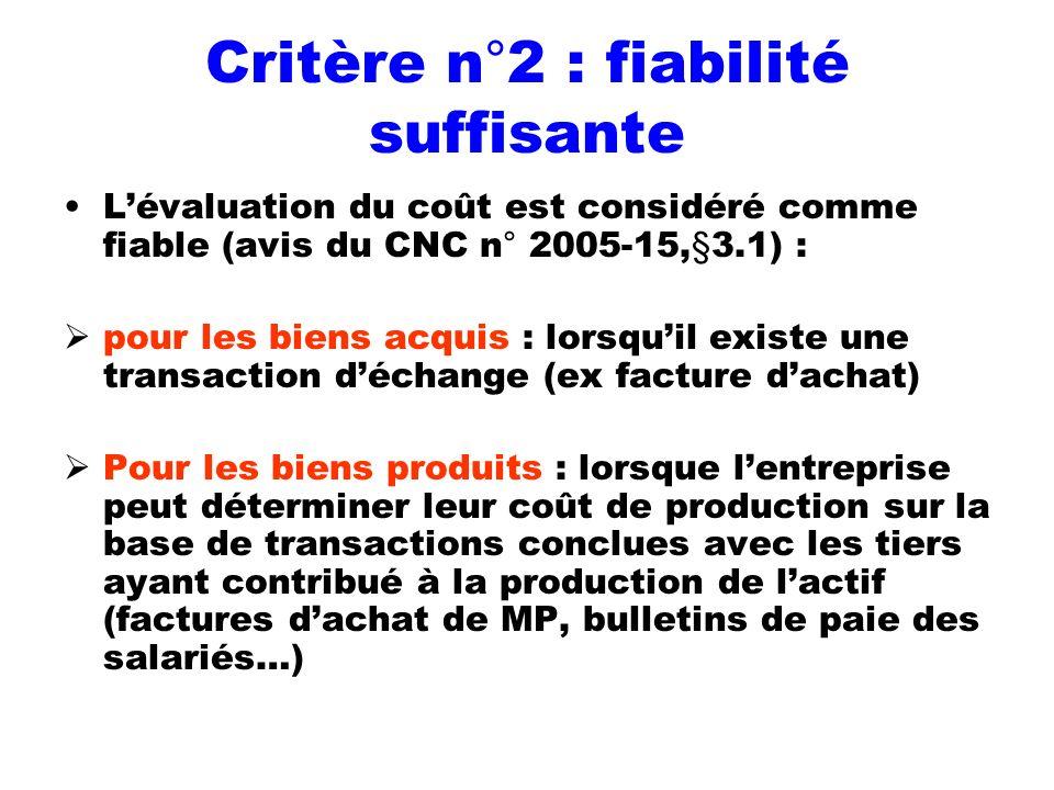 Critère n°2 : fiabilité suffisante