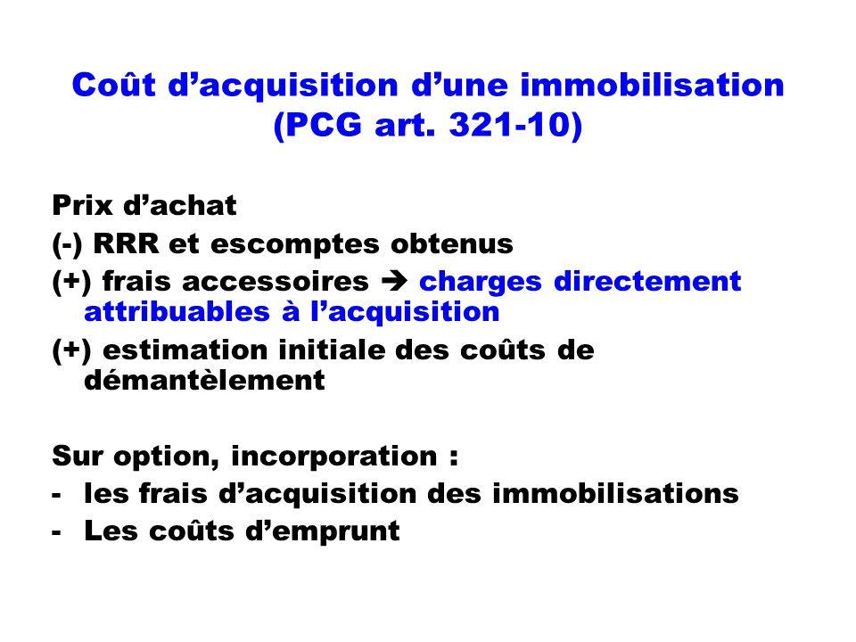 Coût d'acquisition d'une immobilisation (PCG art. 321-10)