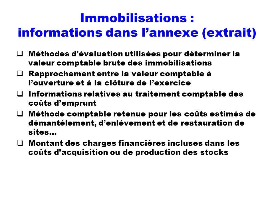 Immobilisations : informations dans l'annexe (extrait)