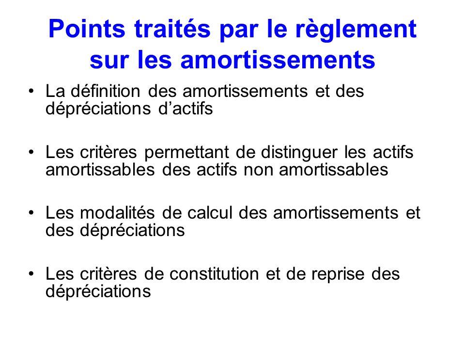 Points traités par le règlement sur les amortissements