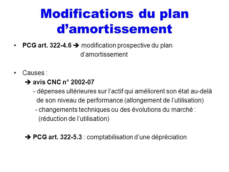Modifications du plan d'amortissement