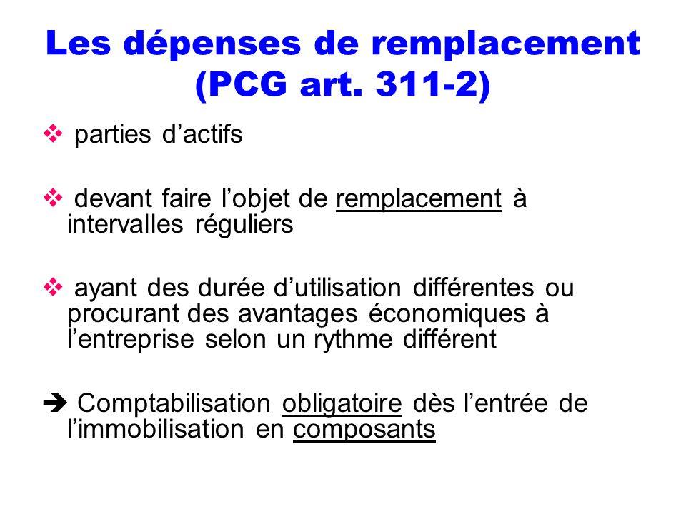Les dépenses de remplacement (PCG art. 311-2)