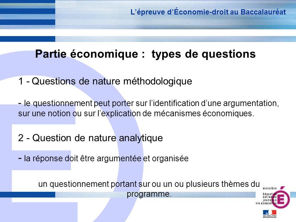 Partie économique : types de questions