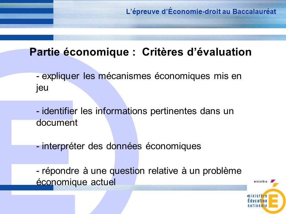 Partie économique : Critères d'évaluation