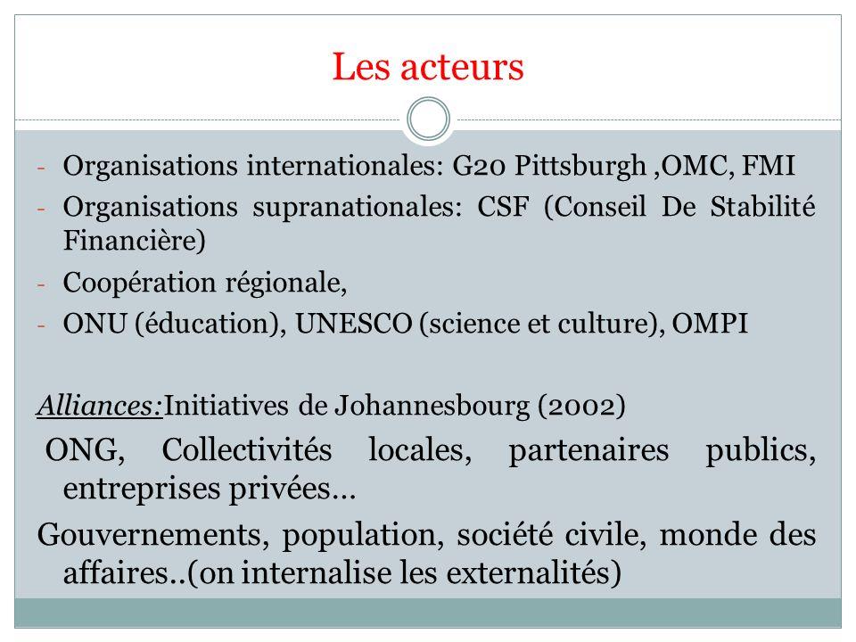 Les acteurs Organisations internationales: G20 Pittsburgh ,OMC, FMI. Organisations supranationales: CSF (Conseil De Stabilité Financière)