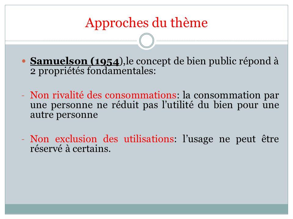 Approches du thème Samuelson (1954),le concept de bien public répond à 2 propriétés fondamentales:
