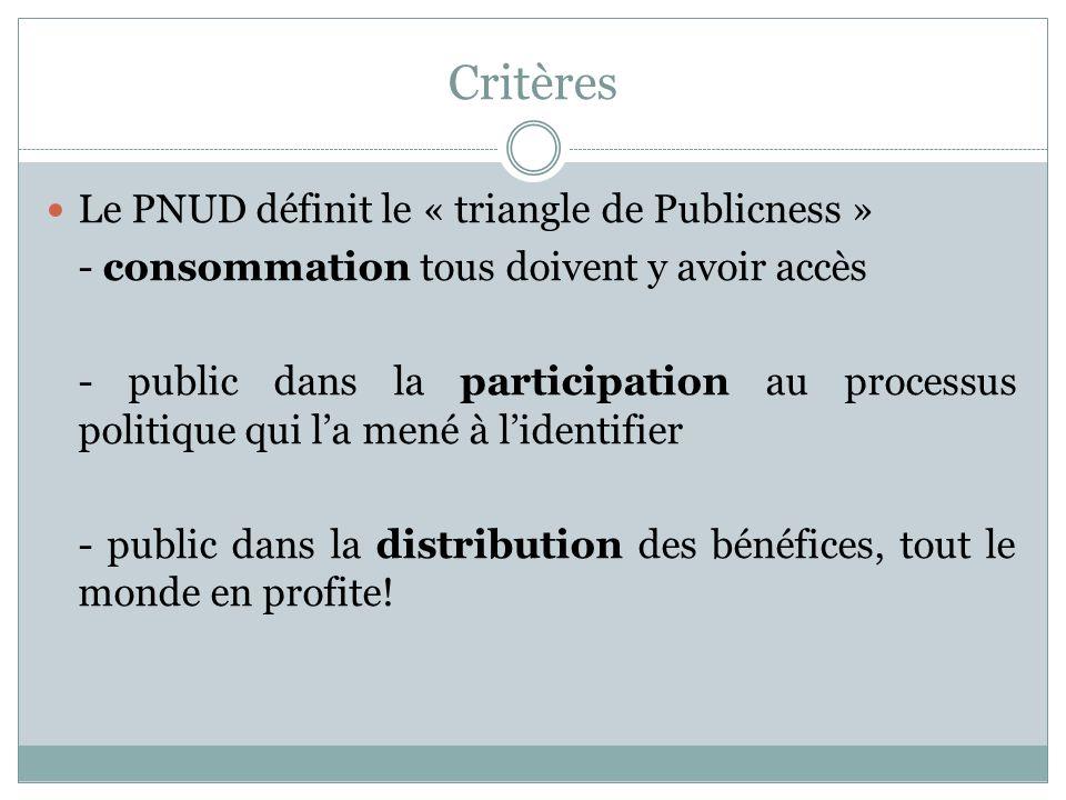 Critères Le PNUD définit le « triangle de Publicness »