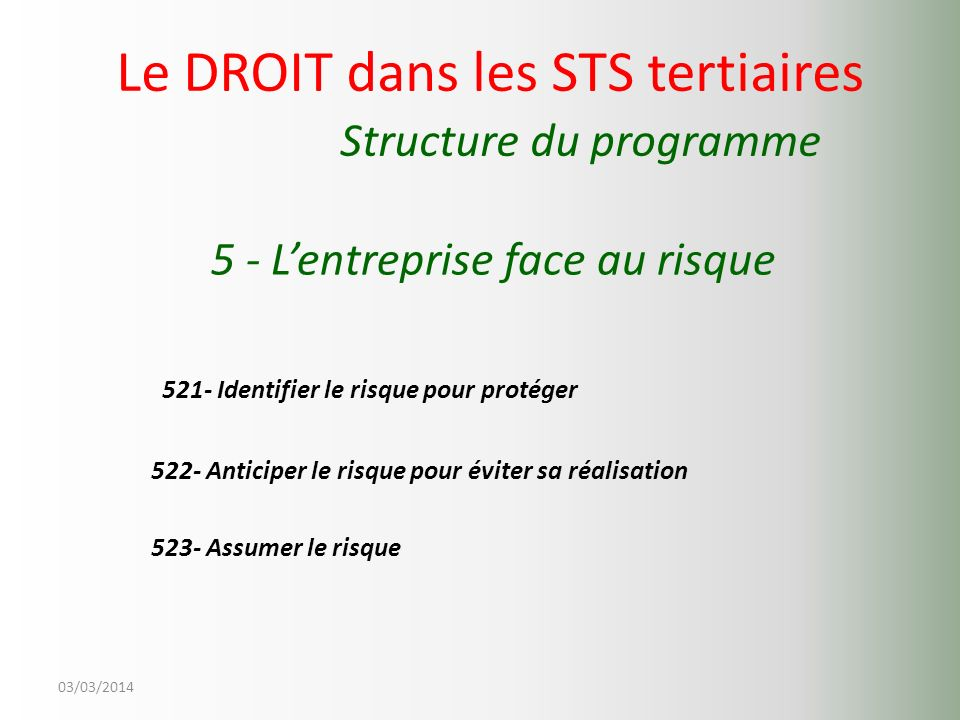 Le DROIT dans les STS tertiaires Structure du programme