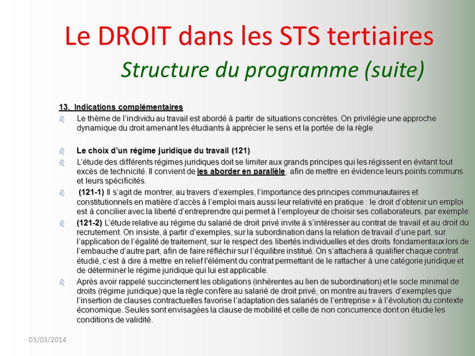 Le DROIT dans les STS tertiaires Structure du programme (suite)