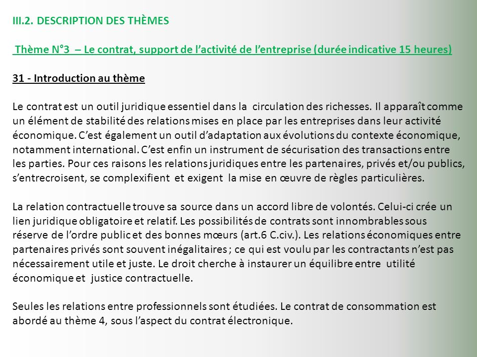 III.2. DESCRIPTION DES THÈMES