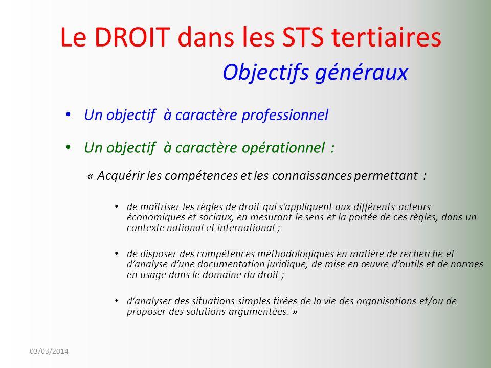Le DROIT dans les STS tertiaires Objectifs généraux