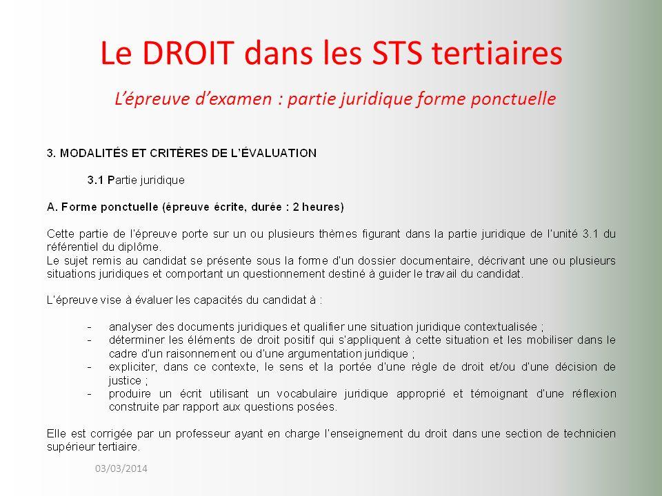 Le DROIT dans les STS tertiaires L'épreuve d'examen : partie juridique forme ponctuelle
