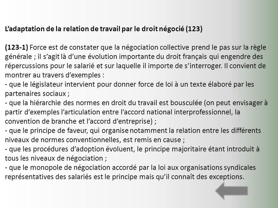 L'adaptation de la relation de travail par le droit négocié (123)