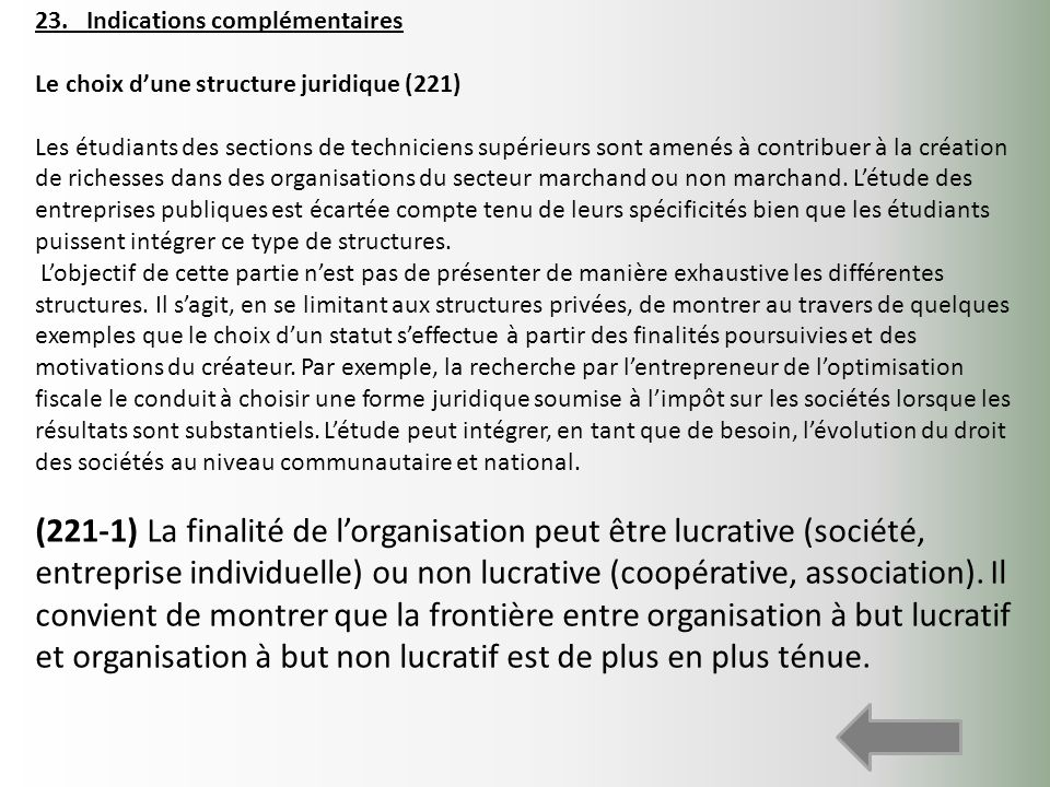 23. Indications complémentaires