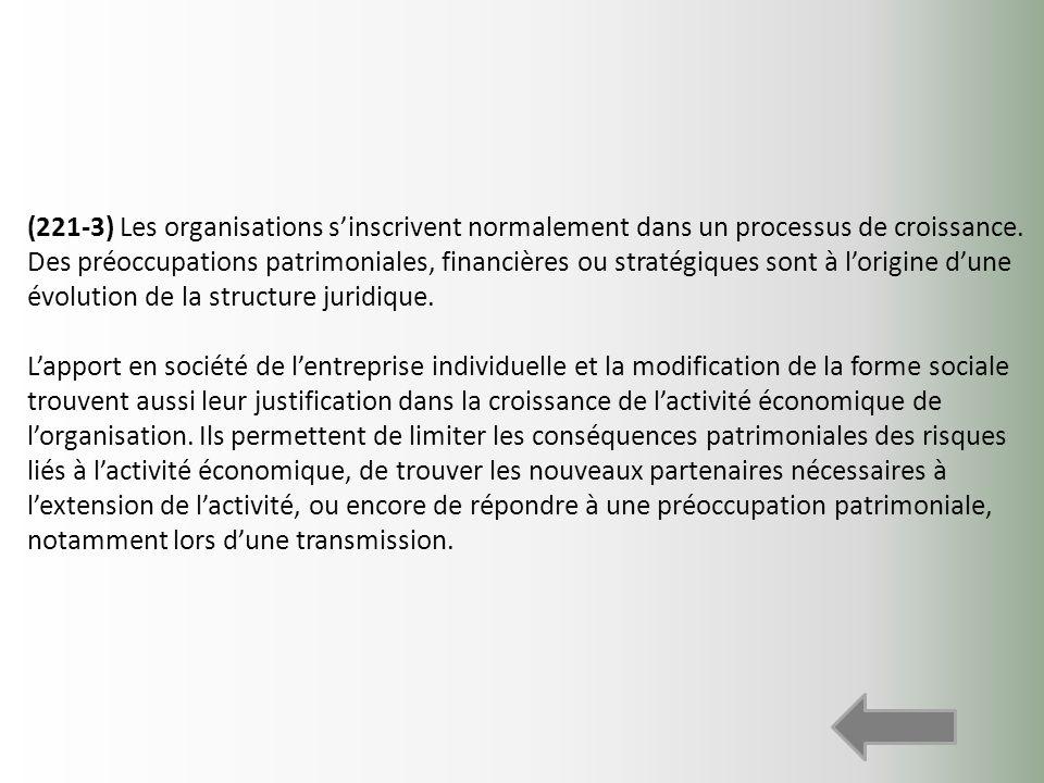 (221-3) Les organisations s'inscrivent normalement dans un processus de croissance. Des préoccupations patrimoniales, financières ou stratégiques sont à l'origine d'une évolution de la structure juridique.
