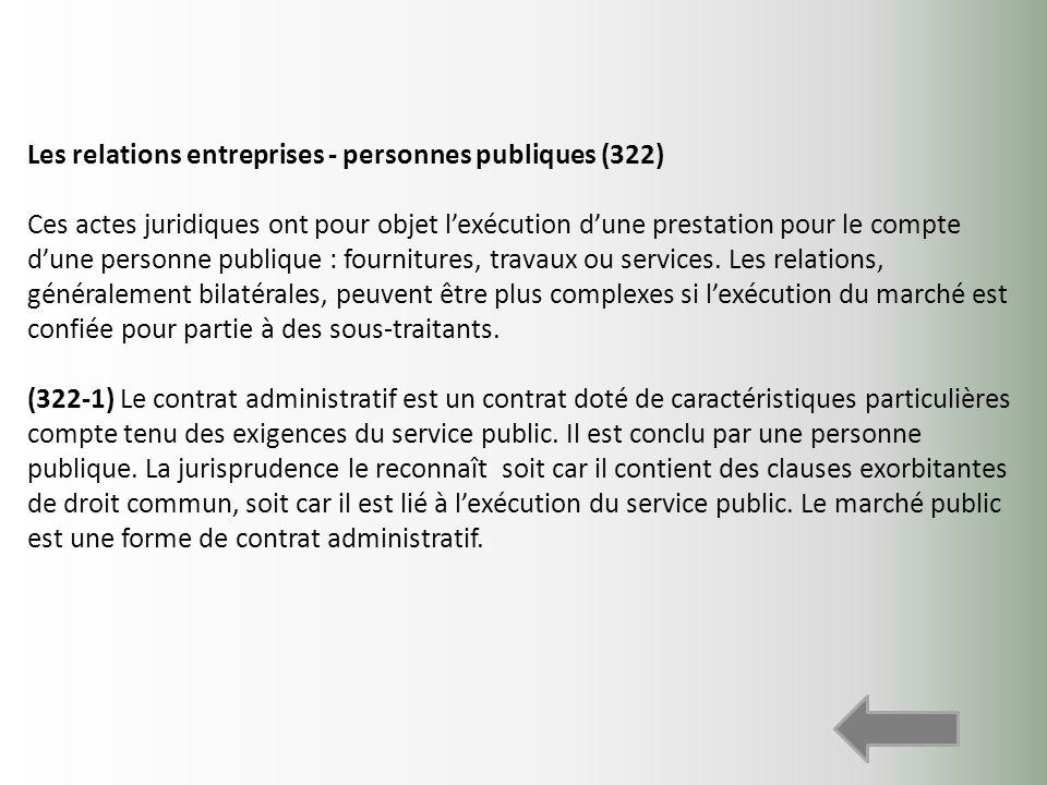 Les relations entreprises - personnes publiques (322)