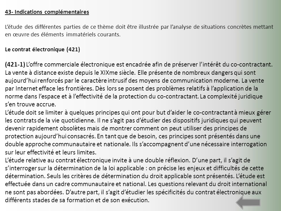 43- Indications complémentaires