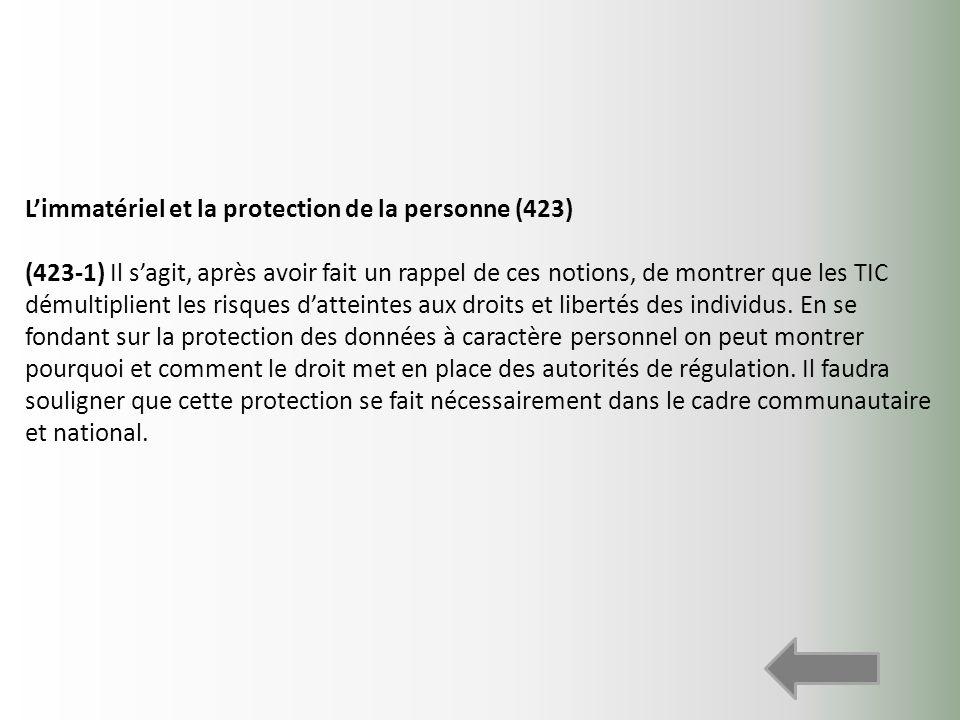 L'immatériel et la protection de la personne (423)