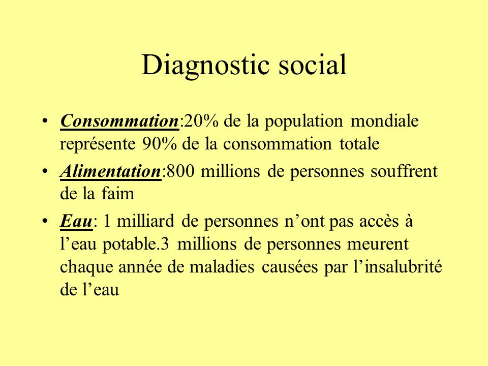 Diagnostic social Consommation:20% de la population mondiale représente 90% de la consommation totale.