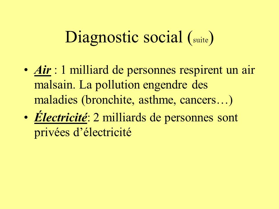 Diagnostic social (suite)