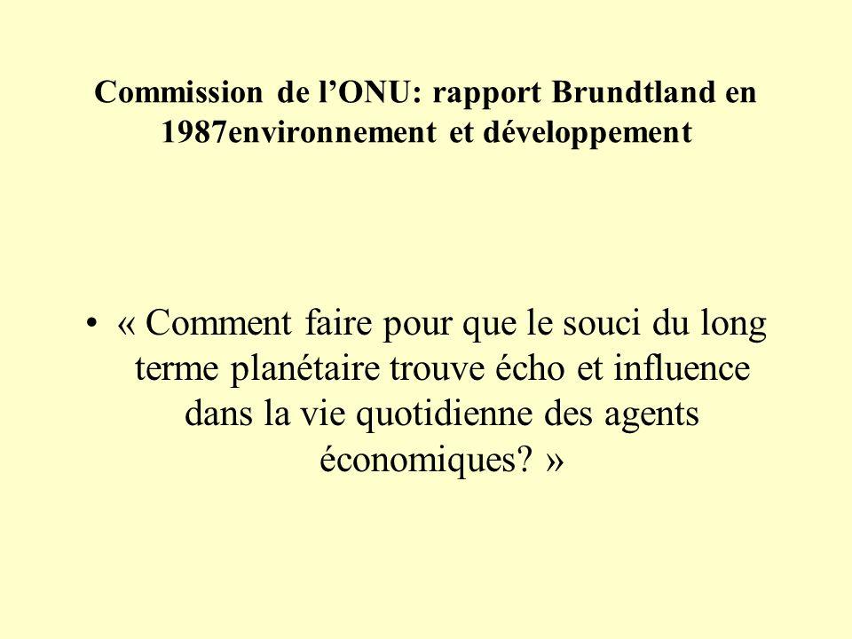 Commission de l'ONU: rapport Brundtland en 1987environnement et développement