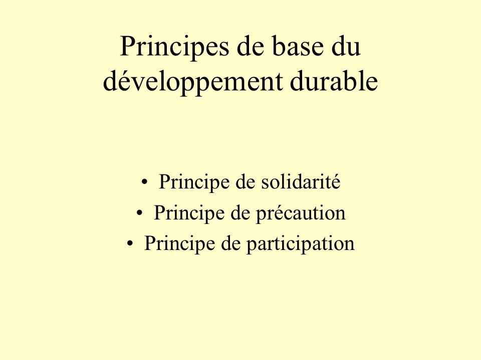 Principes de base du développement durable