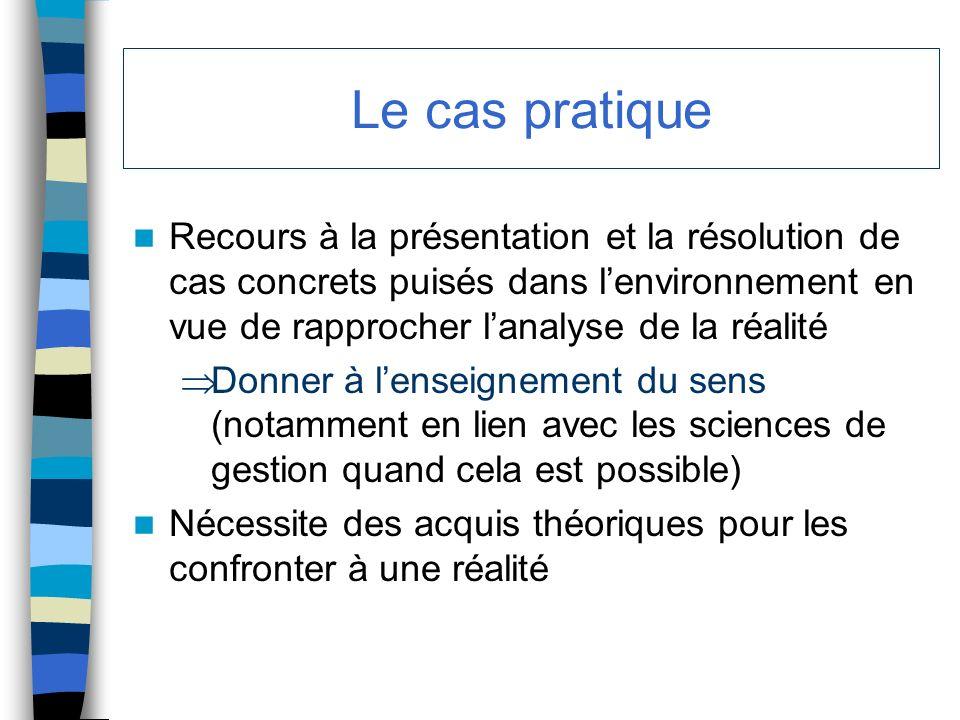 Le cas pratique Recours à la présentation et la résolution de cas concrets puisés dans l'environnement en vue de rapprocher l'analyse de la réalité.