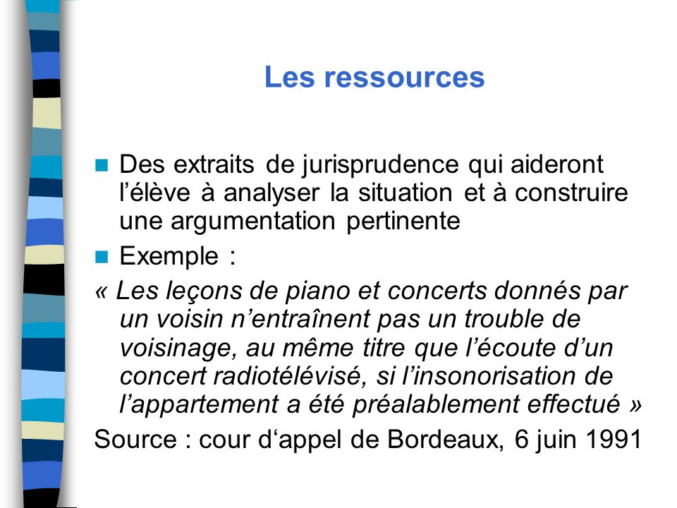 Les ressources Des extraits de jurisprudence qui aideront l'élève à analyser la situation et à construire une argumentation pertinente.