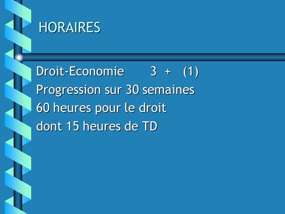 HORAIRES Droit-Economie 3 + (1) Progression sur 30 semaines