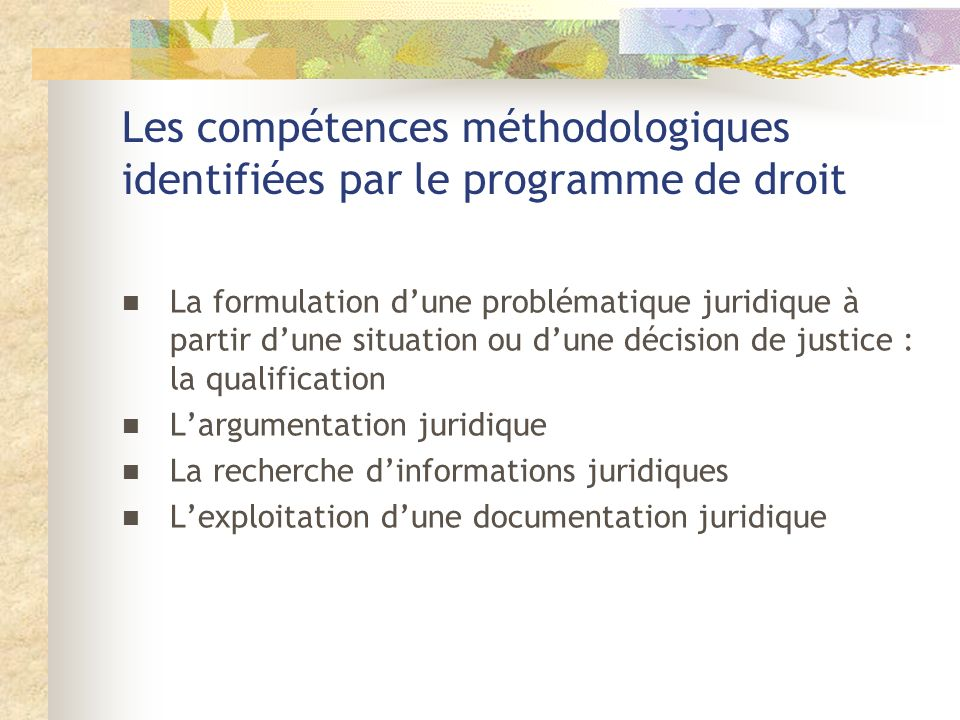 Les compétences méthodologiques identifiées par le programme de droit
