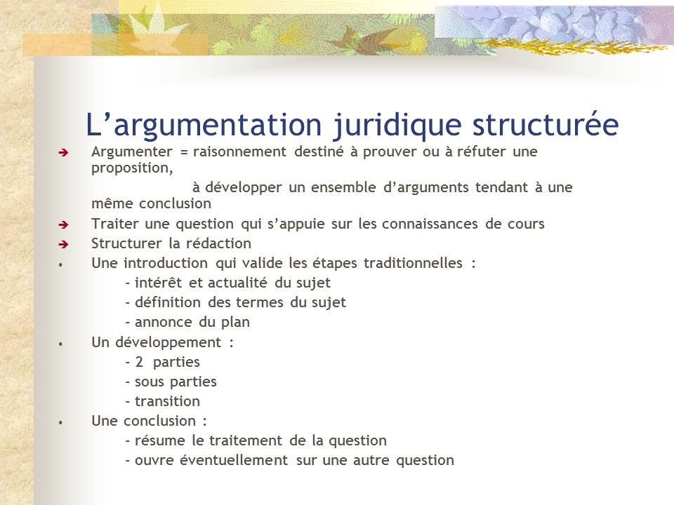 L'argumentation juridique structurée