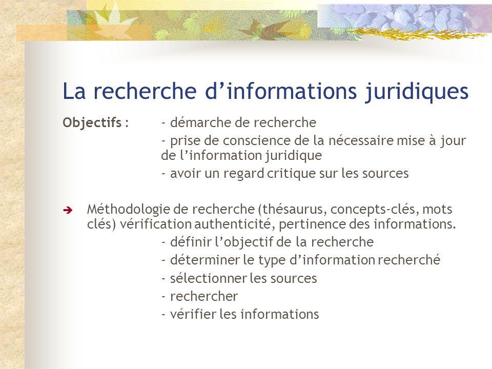 La recherche d'informations juridiques