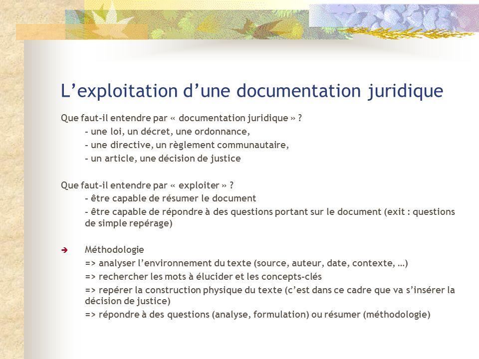 L'exploitation d'une documentation juridique