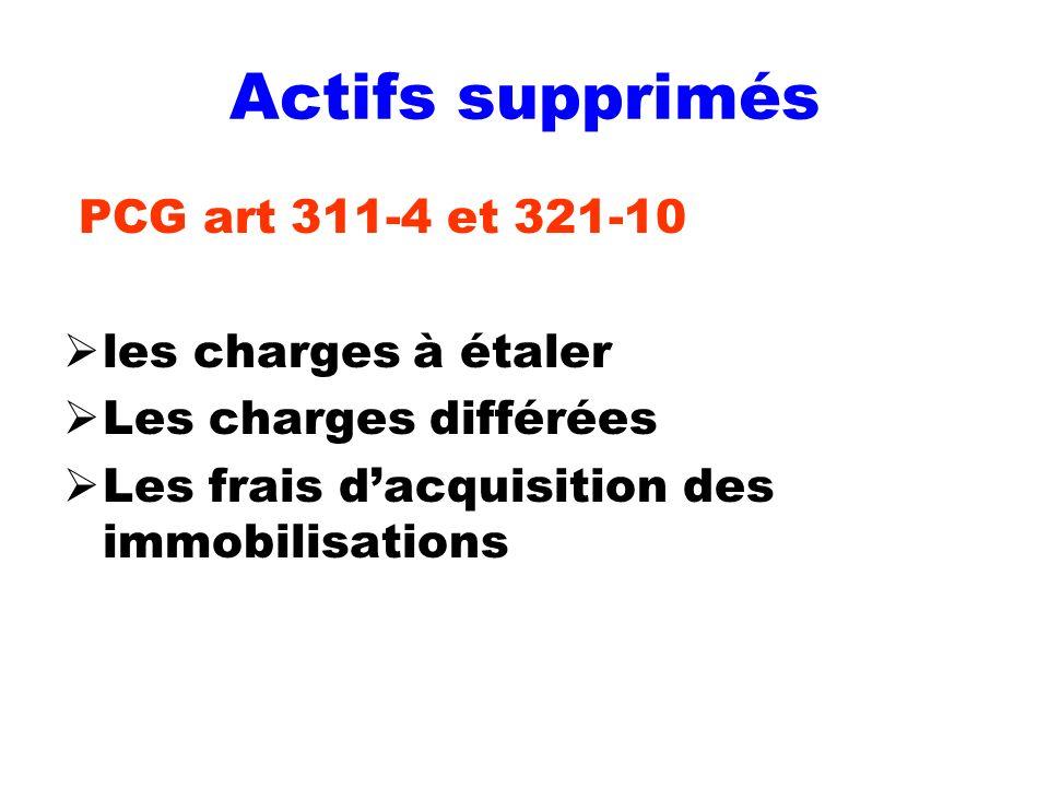 Actifs supprimés PCG art 311-4 et 321-10 les charges à étaler