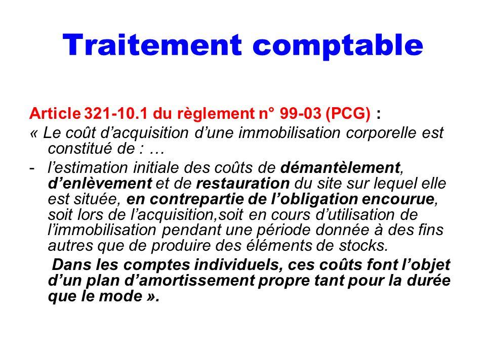 Traitement comptable Article 321-10.1 du règlement n° 99-03 (PCG) :