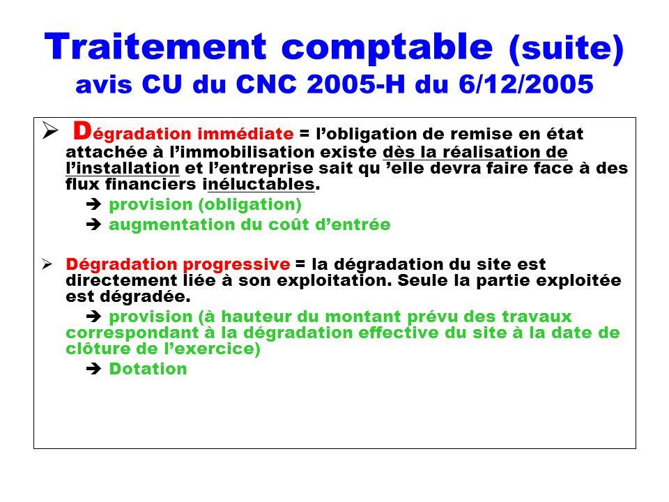 Traitement comptable (suite) avis CU du CNC 2005-H du 6/12/2005