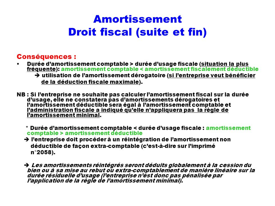 Amortissement Droit fiscal (suite et fin)