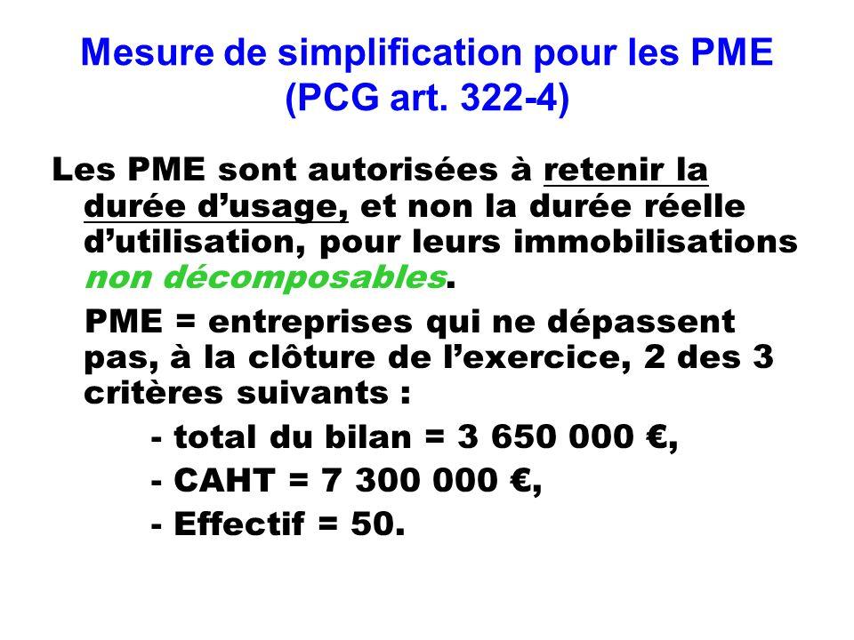 Mesure de simplification pour les PME (PCG art. 322-4)