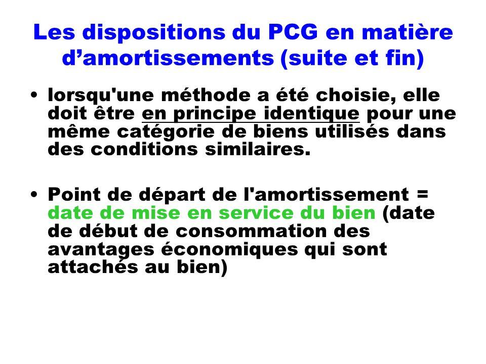 Les dispositions du PCG en matière d'amortissements (suite et fin)