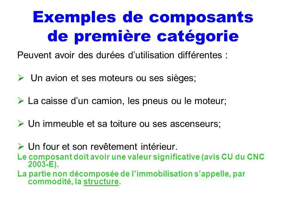 Exemples de composants de première catégorie